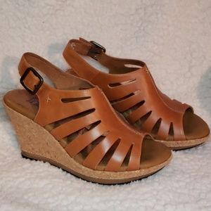 Indigo by Clarks Tan Strappy Long Pond Cork Wedge